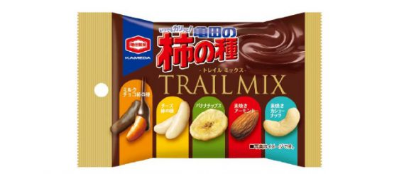 亀田製菓/ミルクチョコ柿の種やバナナチップス入り「亀田の柿の種 トレイルミックス」