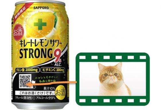 サッポロ/ほっこり猫動画のQRコード付き「キレートレモンサワー ストロング」