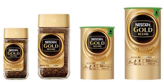 (左から)「ネスカフェ ゴールドブレンド80g」 、「ネスカフェ ゴールドブレンド120g」、「ネスカフェ ゴールドブレンド エコ&システムパック 65g」、「ネスカフェ ゴールドブレンド エコ&システムパック 105g」