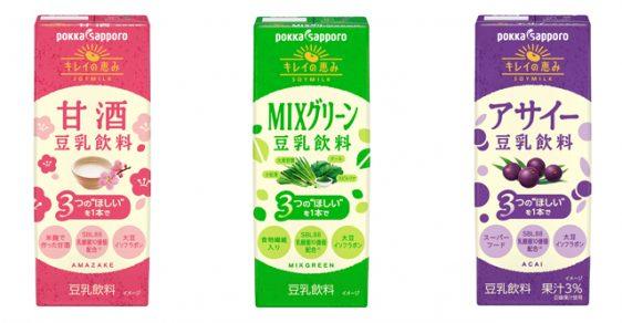 ポッカ/イソフラボンと乳酸菌が摂れる「キレイの恵み 甘酒豆乳飲料」